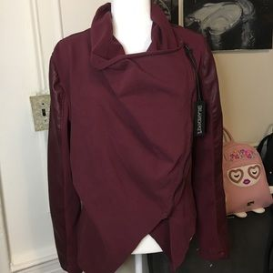 Blank nyc wine faux leather jacket NWT